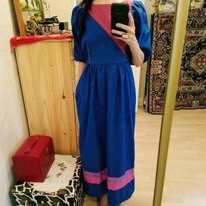 Vintage Bold Colorblock Prarie Maxi Dress S/M